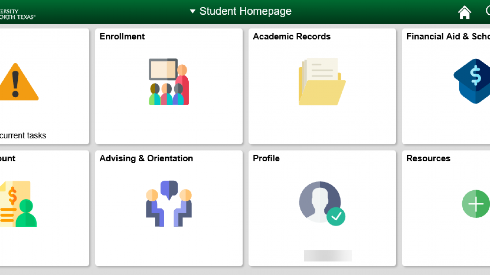 Image of new MyUNT student portal